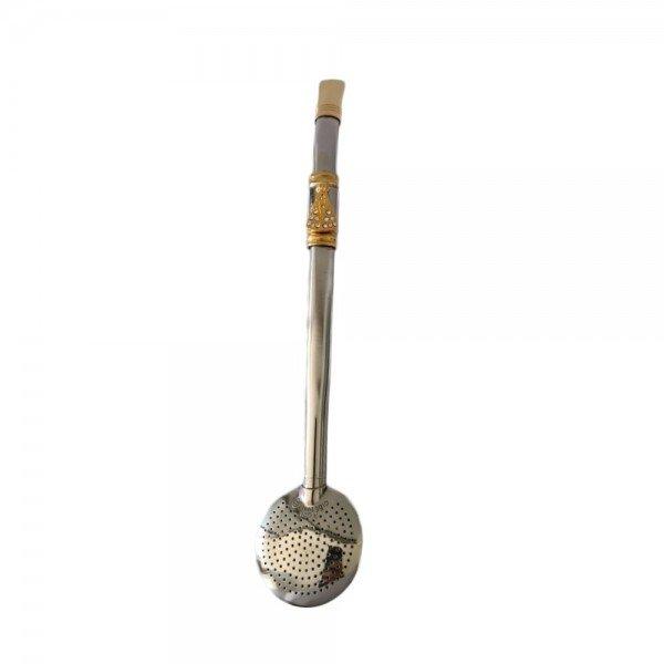 bomba de chimarrao em inox banhada a ouro com pingente 15