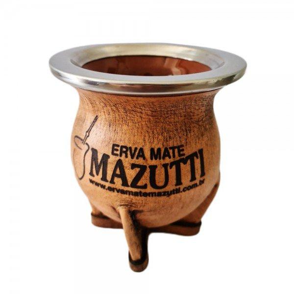 cuia torpedo em ceramica revestida em couro e bocal inox marrom